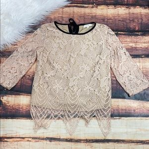 Nude Lace 3/4 Sleeve Shirt